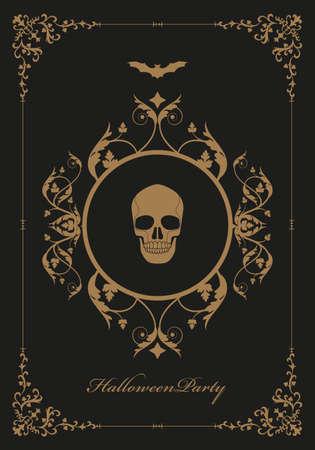 Frame illustration ornamental background with terrifying symbols. Skulls and vampires. Halloween party 矢量图像