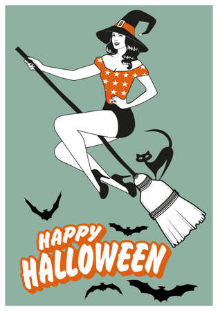 Beautiful pinup witch flying on a broom with a black cat. Happy Halloween text surrounded by bats. 矢量图像
