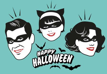 Retro style vampire family wearing masks. Happy Halloween text surrounded by bats. 免版税图像 - 155277140
