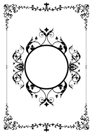 Decorative frame and background in vintage style vector with ornamental elements isolated on white background 矢量图像