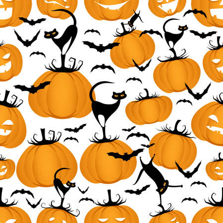 Seamless pattern of funny pumpkins, cats and bats. Halloween party background