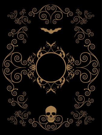 Frame illustration ornamental background with terrifying symbols. Skulls and vampires.