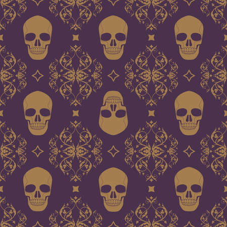 Decorative floral seamless pattern in vintage gothic style vector with skulls 矢量图像