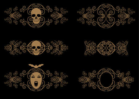 Ornamental terrifying symbols. Skulls and vampires. Ornaments and dividers collections