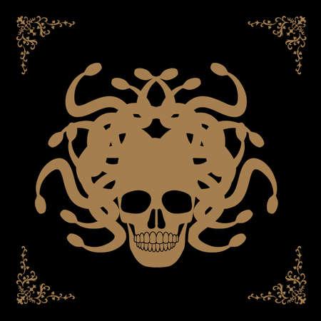 Ornamental Medusa skull isolated on white background. Gothic frame