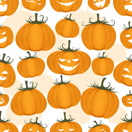 Seamless pattern of funny pumpkins. Halloween party background 矢量图像