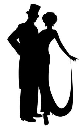 Elegant silhouettes of couple wearing retro style party clothes. Man in top hat and lady with long dress, isolated on white background.