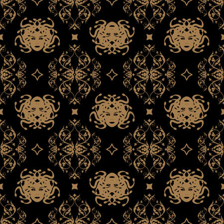 Decorative seamless pattern in vintage gothic style vector with ornamental elements and Medusa head 矢量图像