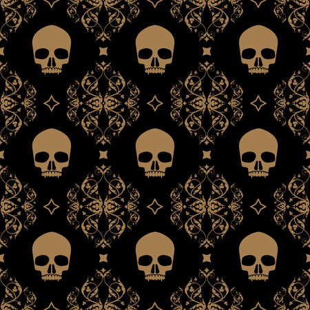 Decorative floral seamless pattern in vintage gothic style vector with skulls 免版税图像 - 155279663