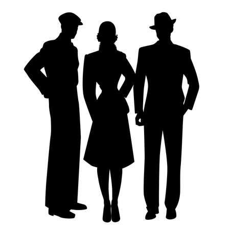 Elegant silhouettes of three, two men and woman, wearing retro style clothes isolated on white background. Çizim