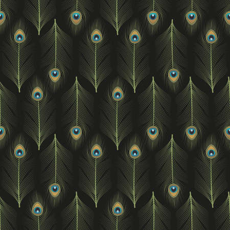 Peacock feathers ornamental seamless pattern 矢量图像