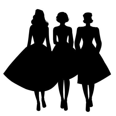 Silhouettes of three girls wearing retro clothes walking together isolated on white background 矢量图像