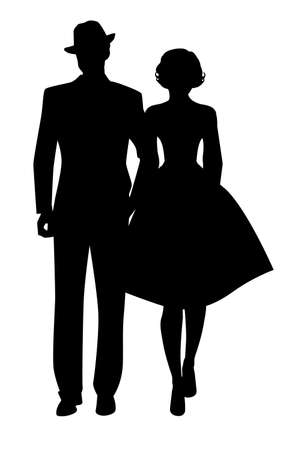 Silhouette of couple walking, wearing retro style clothes, isolated on white background 免版税图像 - 155279673