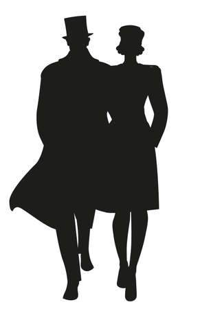 Silhouette of couple walking, wearing retro style clothes, isolated on white background 矢量图像