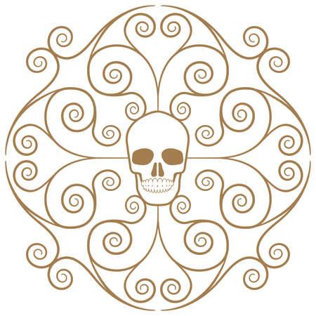 Ornamental skull isolated on white background