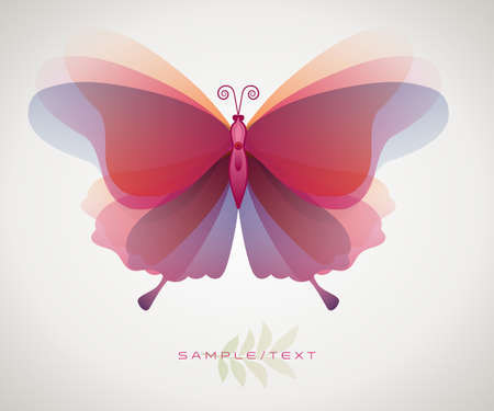 Beautiful and ethereal stylized and isolated butterfly. Symbol of transformation, beauty and youth. 矢量图像