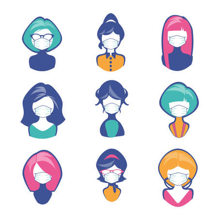 Avatars or icons of women retro cartoon style with face mask, isolated on white background 免版税图像 - 157539428