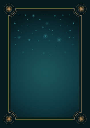 Fantasy background of starry night sky and frame with stars.