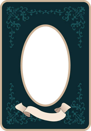 Oval vintage style frame with ornamental motifs and blank banner for text 免版税图像 - 158183258