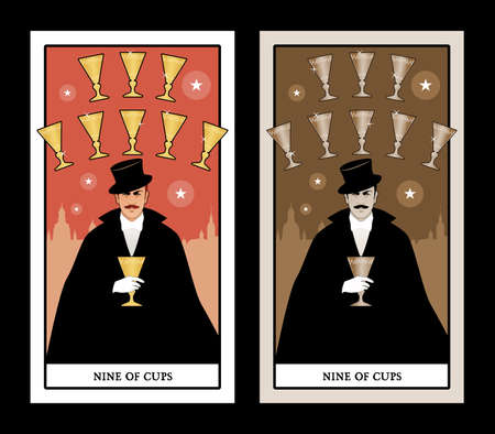 Nine of Cups. Tarot cards. Elegant gentleman in a white glove, with a mustache and top hat, holding a golden cup. Sky line of a big city in the background and nine golden cups forming an arch