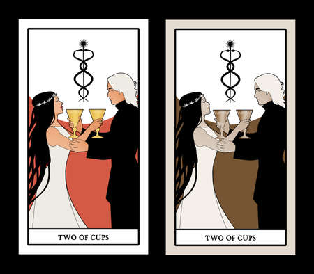 Two of cups. Tarot cards. Young couple offering a golden cup to each other. Caduceus symbol of two entwined snakes