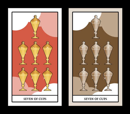 Seven of cups. Tarot cards. Seven cups with a lid, golden and shiny on a cloud background