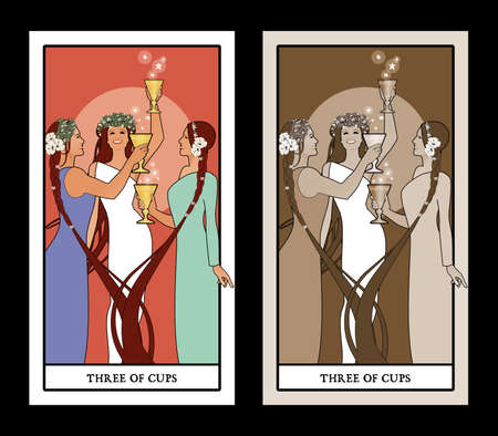 Three of Cups. Tarot cards. Three young and beautiful girls holding golden cups, dancing and toasting smiling and happy
