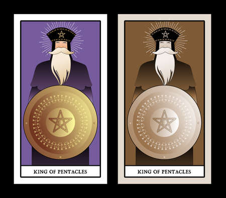 King of Pentacles with crown and long beard holding golden shield with the symbol of the pentacle in the center. King of Gold. Minor arcana Tarot cards 免版税图像 - 158913330