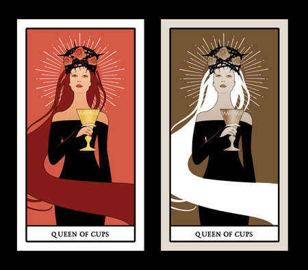 Queen of Cups with crown, roses and thorns, holding a golden cup. Minor arcana Tarot cards. Spanish playing cards.