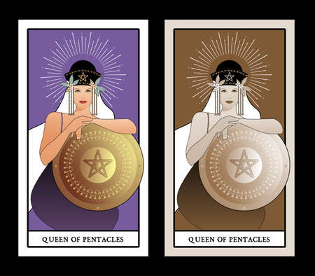 Queen of Pentacles with crown and long hair holding golden shield with the symbol of the pentacle in the center. Queen of Gold. Minor arcana Tarot cards. Spanish playing cards.