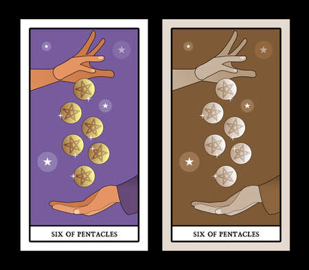 Six of pentacles. Tarot cards. A generous hand giving six golden pentacles to another hand that collects them in an attitude of asking for alms 矢量图像