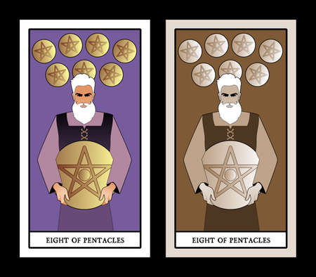 Eight of pentacles. Tarot cards. Craftsman man showing the result of his work, eight freshly chiselled golden pentacles 矢量图像