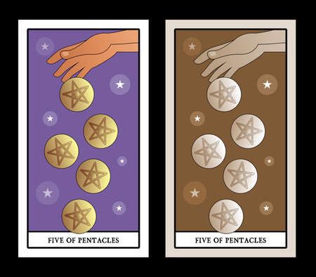 Five of pentacles. Tarot cards. Hand letting go five golden pentacles on clouds background 免版税图像 - 158913337