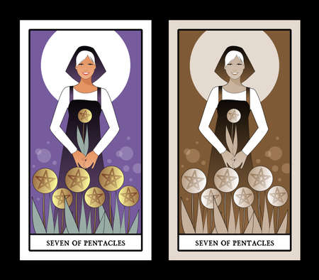 Seven of pentacles. Tarot cards. Beautiful worker collecting a harvest of seven golden pentacles
