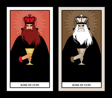 King of Cups with crown, roses and thorns, holding a golden cup. Minor arcana Tarot cards. Spanish playing cards. 免版税图像 - 158913349
