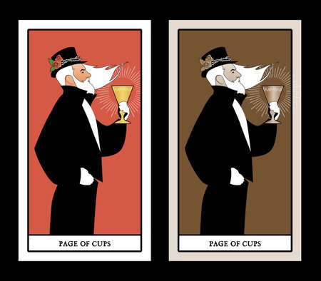Page or knave of cups with top hat, roses and thorns, holding a golden cup. Minor arcana Tarot cards. Spanish playing cards. 免版税图像 - 158913364