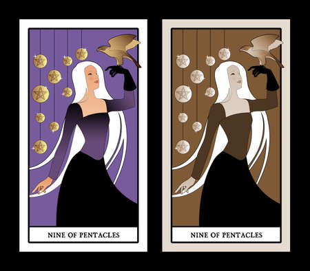 Nine of pentacles. Tarot cards. Beautiful girl carrying a hawk on her hand and nine bright golden pentacles in the background 免版税图像 - 158852764
