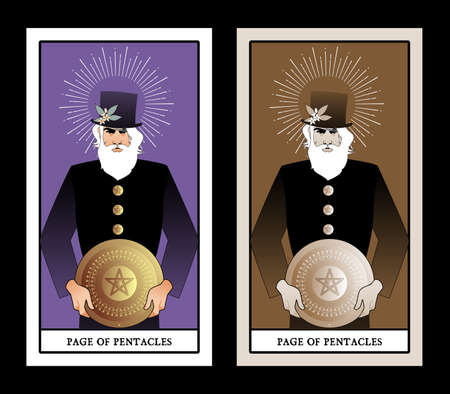 Page or knave of pentacles with top hat holding a golden shield. Minor arcana Tarot cards. Spanish playing cards 免版税图像 - 158913397