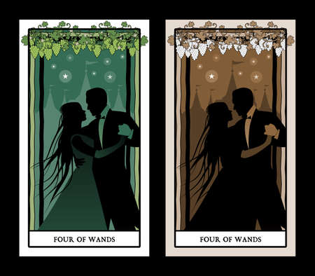 Four of wands. Tarot cards. Silhouette of young couple dancing under grapevine on four sticks. Palace in the background