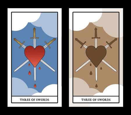 Three of swords. Heart pierced by three swords on clouds background. Blood drops. 矢量图像