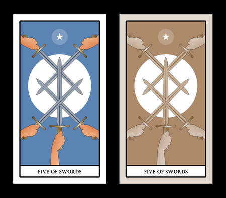 Five of swords. Crossing five swords on a symbolic image of the sun