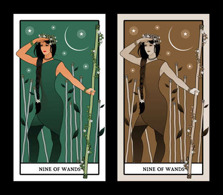 Nine of wands. Tarot cards. Young woman looking away, holding a wand surrounded by flowers and leaves; Eight sticks in the background