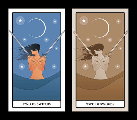 Two of swords. Tarot cards. Wind-haired woman with two swords crossed over her chest, in the sea under the crescent moon. 矢量图像