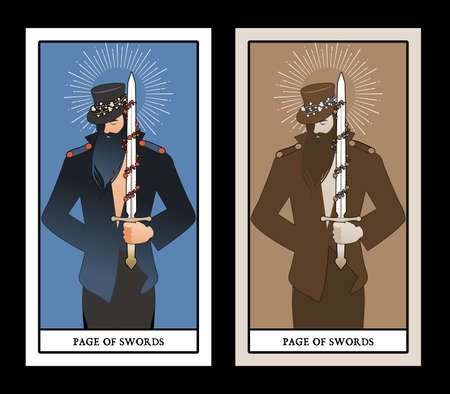 Page or knave of swords with top hat holding a sword with flowers and leaves. Minor arcana Tarot cards. Spanish playing cards. 免版税图像 - 158913405