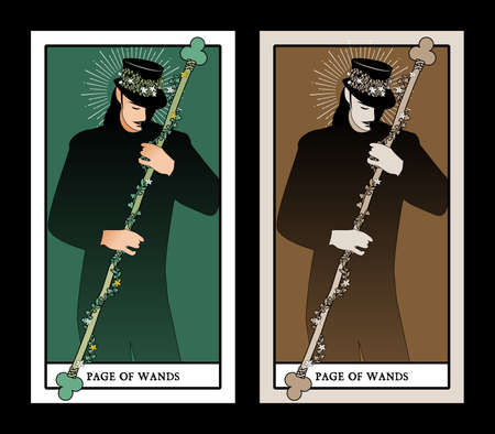 Page or knave of swords with top hat holding a sword with flowers and leaves. Minor arcana Tarot cards. Spanish playing cards