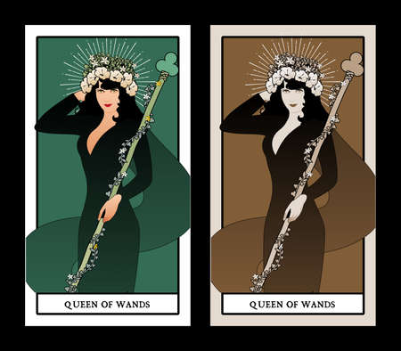 Queen of Wands with flowers crown, holding a rod surrounded by a garland of leaves and flowers. Minor arcana Tarot cards. Spanish playing cards 免版税图像 - 158913407