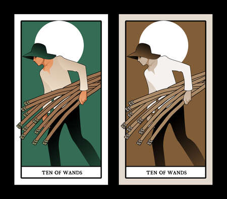 Ten of wands. Tarot cards. Young man with hat, carrying ten sticks, with the sun in the background 免版税图像 - 158913408