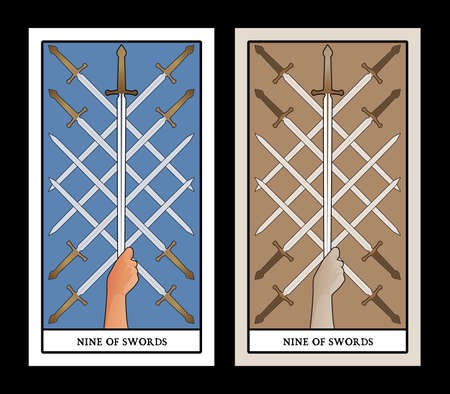 Nine of swords. Tarot cards. Eight crossed swords and a hand grasping a sword tip 免版税图像 - 158913412