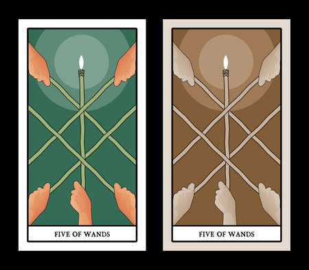 Five of wands. Tarot cards. Hands holding crossed sticks