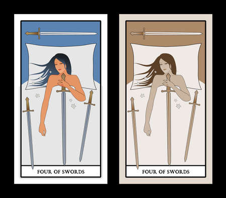 Four of swords. Woman sleeping on a white bed, holding a sword. Three swords on the bed. 免版税图像 - 158913416